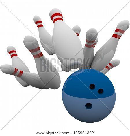 Blue bowling ball striking pins in 3d isolation to illustrate winning game, success, victory and achievement