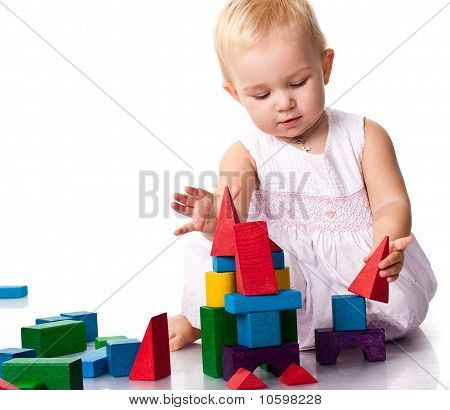 Beautiful Baby Building A Castle
