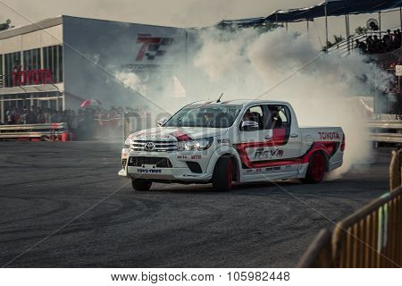 Pick-up Car Perform Drifting With Smoke