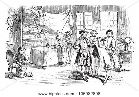 Shop secondhand clothes dealer, vintage engraved illustration. Magasin Pittoresque (1882).