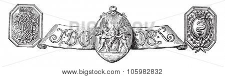Monogram and arms of Colbert. On a table after the Museum of Auxerre, vintage engraved illustration. Magasin Pittoresque (1882).
