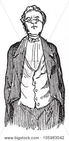 The author, Thackeray, designed by himself, vintage engraved illustration. Magasin Pittoresque (1882).