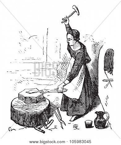 Forge in the fifteenth century, On after Fouquet, vintage engraved illustration. Magasin Pittoresque (1882).