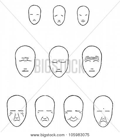 Expressions of the face, vintage engraved illustration. Magasin Pittoresque (1882).