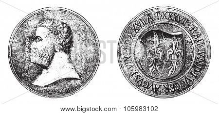 Carved wooden medallion Fugger, vintage engraved illustration. Magasin Pittoresque 1882.
