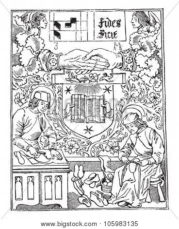 Press mark of Guyot Marchant, bookstore, from 1483-1502, vintage engraved illustration. Magasin Pittoresque 1882.