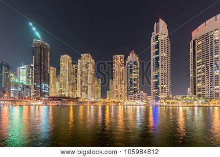 Dubai - JANUARY 10, 2015: Marina district on January 10 in UAE, Dubai. Marina district is popular residential area in Dubai