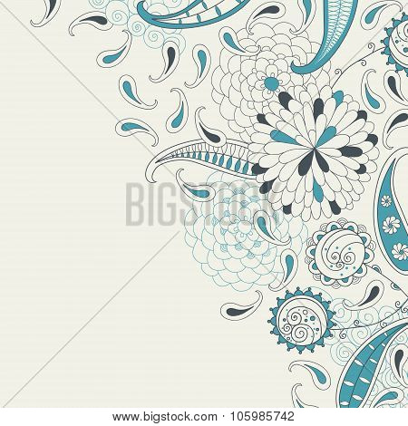 Stock vector card with abstract flowers and paisley in retro style.