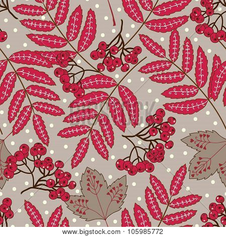 Stock vector seamless pattern with red leaves and berries on a gray background with polka dots.