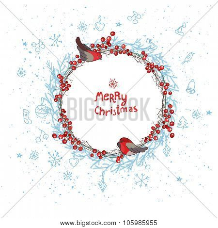Christmas template with bullfinches,red,berries and snow. Round frame with fir branches
