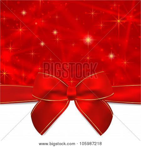 Holiday card, Christmas card, Birthday card, Gift card (greeting card) template with Red bow, ribbon