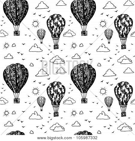 Graphic seamless pattern with balloons