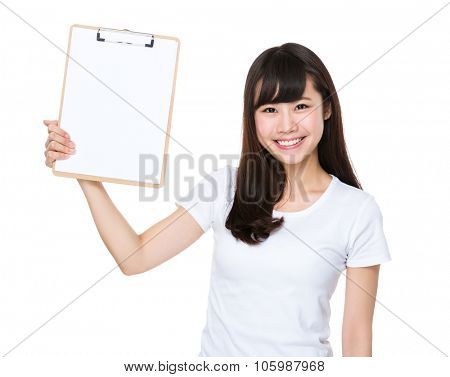 Asian Young woman show with the clipboard