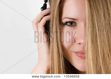 Young girl in dj headphones