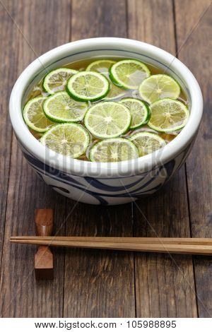 soba buckwheat noodles with sliced sudachi(japanese citrus), japanese food