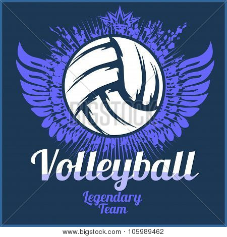 Volleyball championship logo with ball - vector illustration.