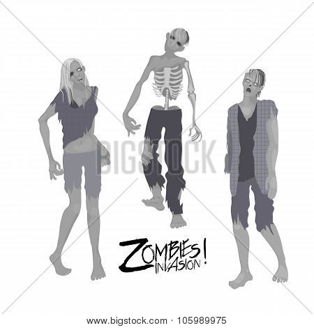 Three zombie characters walking forward