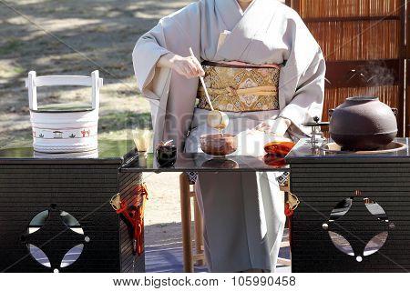 Japanese green tea ceremony in garden
