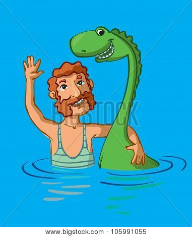 Loch Ness Monster And Man