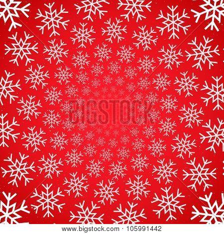 Snow vortex on red background.