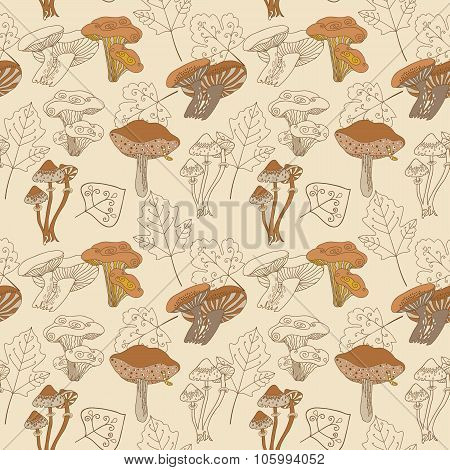 Stock vector seamless pattern with mushrooms and leaves.