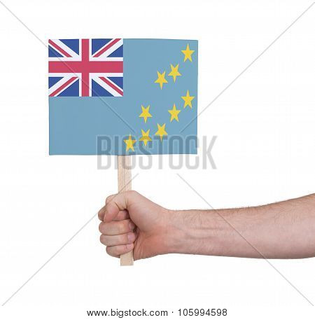 Hand Holding Small Card - Flag Of Tuvalu