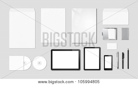 Corporate Branding Mockup Template, Grey Background