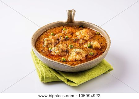indian spicy food Gobi Masala or cauliflower curry, served in an indian main course