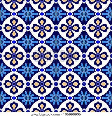 Mexican stylized talavera tiles seamless pattern in blue and white, vector