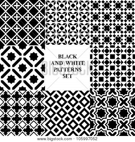 Black and white geometric tiles seamless patterns set, vector