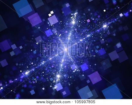 Blue Technology Squares With Glowing Stars