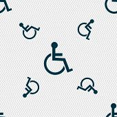 Постер, плакат: Disabled Sign Icon Human On Wheelchair Symbol Handicapped Invalid Sign Seamless Pattern With Geom