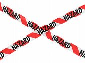 Постер, плакат: Red And White Striped Hazard Barrier Tape Cross