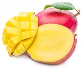 Постер, плакат: Mango fruit and mango cubes The picture of high quality Mango fruit and mango cubes on the white b