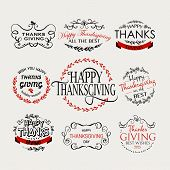 Happy Thanksgiving Day Logotype, Badge And Icon Set poster