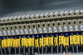 picture of busbar  - photo of wiring (wirework). focus on center