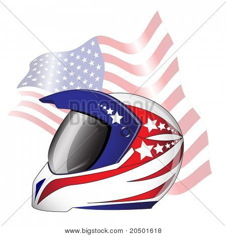Motorcycle helmet with red, white and blue 'Stars and Stripes' theme against American flag. EPS10 vector format.