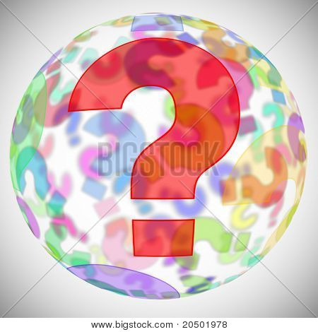 an sphere with question marks of different colors