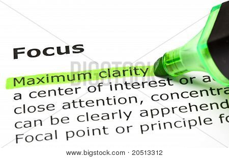 'Maximum Clarity' Highlighted, Under 'focus'