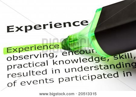 'Experience' Highlighted In Green