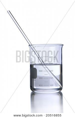 Laboratory beaker with liquid and stirrer isolated over white - With clipping path on glassware