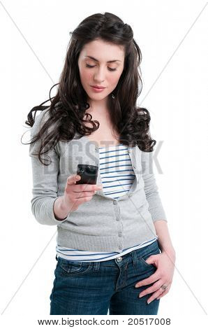 Lächeln, schöne Dame Text-messaging und Chat mit ihrem Smartphone, isolated on white background