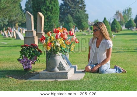 Woman By Gravesite