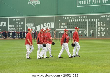 Boston - May 30:  Boston Red Sox Relief Pitchers Head To The Bullpen Before Memorial Day Game At His