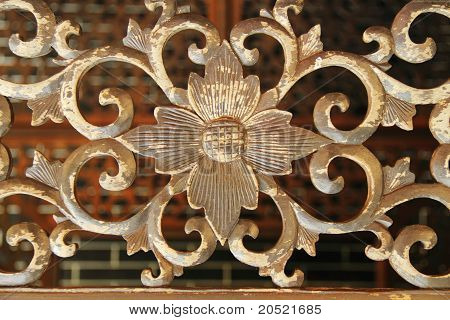 detailed carving of flower