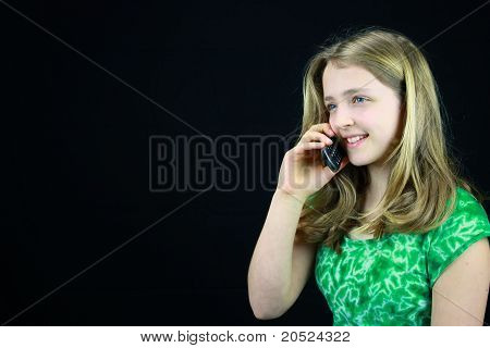 Young Girl Using A Cell Phone