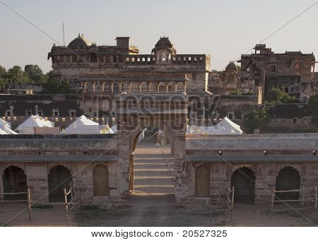 View from the rampart on the tent camp at Nagaur's palace in Rajasthan.
