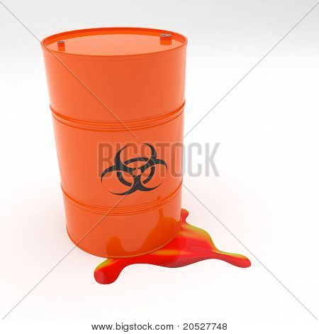 Steel 55 Gallon Drum Biohazard Symbol Leaking