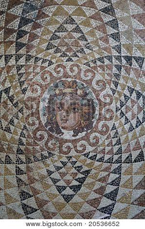 Mosaic detail with the face of Dionysus