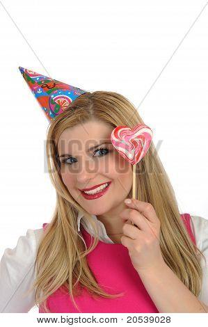 Pretty Party Female Celebrating Birthsday. Isolated